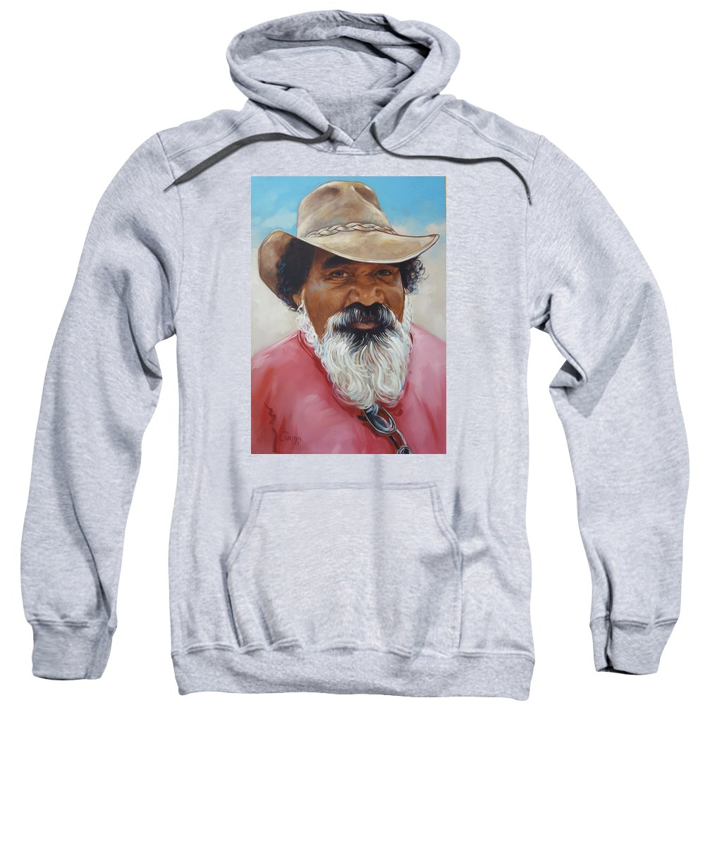 Portrait Of A Man Of Aboriginal Descent Who Immigrated To The Us And Worked In Missouri Sweatshirt featuring the painting Ralph by Jerrold Carton