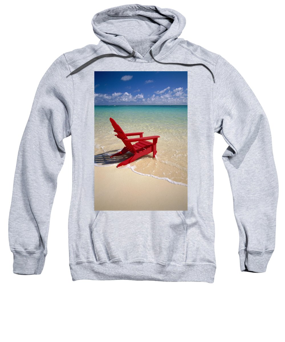 Adirondack Sweatshirt featuring the photograph Red Beach Chair by Dana Edmunds - Printscapes