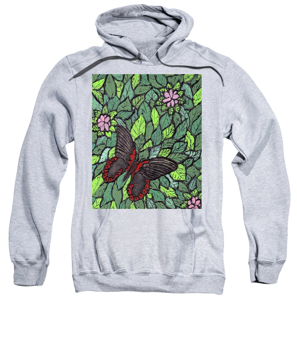 Butterfly Sweatshirt featuring the painting Red Butterfly by Wayne Potrafka