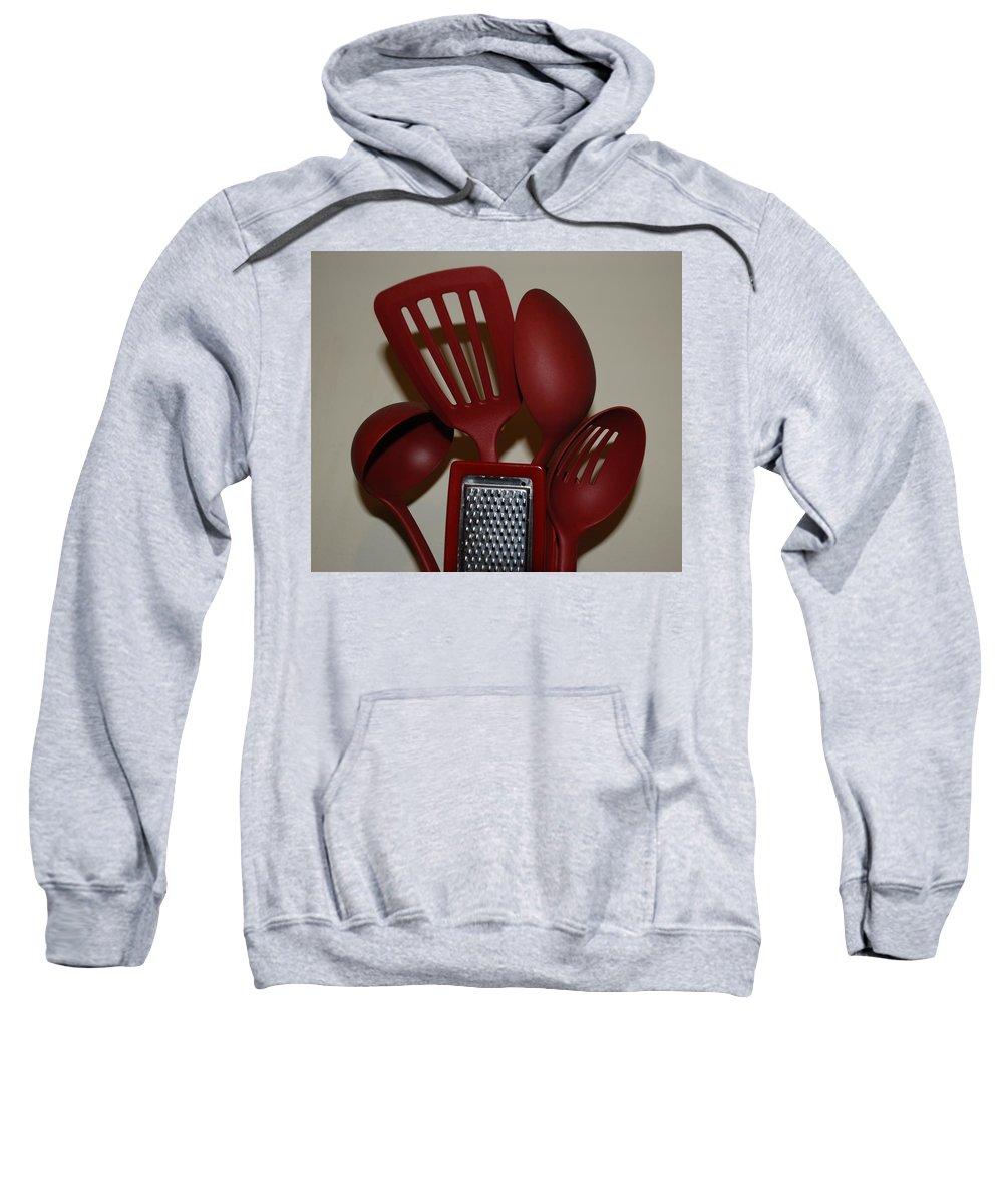 Utencils Sweatshirt featuring the photograph Red Kitchen Utencils by Rob Hans