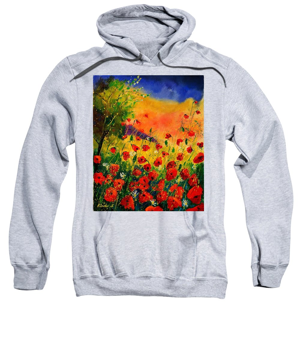 Flowers Sweatshirt featuring the painting Red Poppies 451 by Pol Ledent