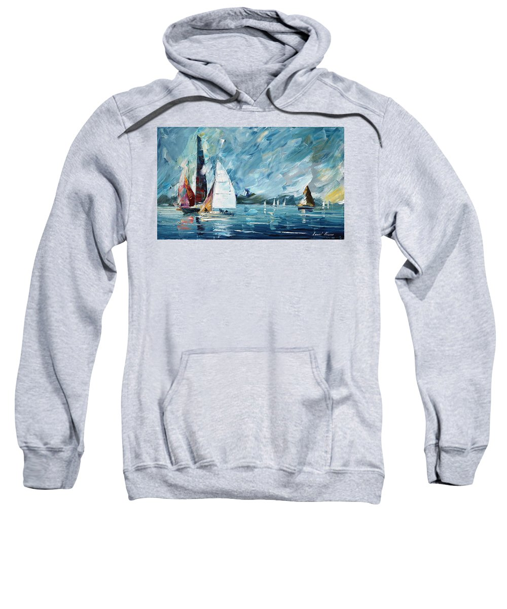 Boat Sweatshirt featuring the painting Regatta by Leonid Afremov