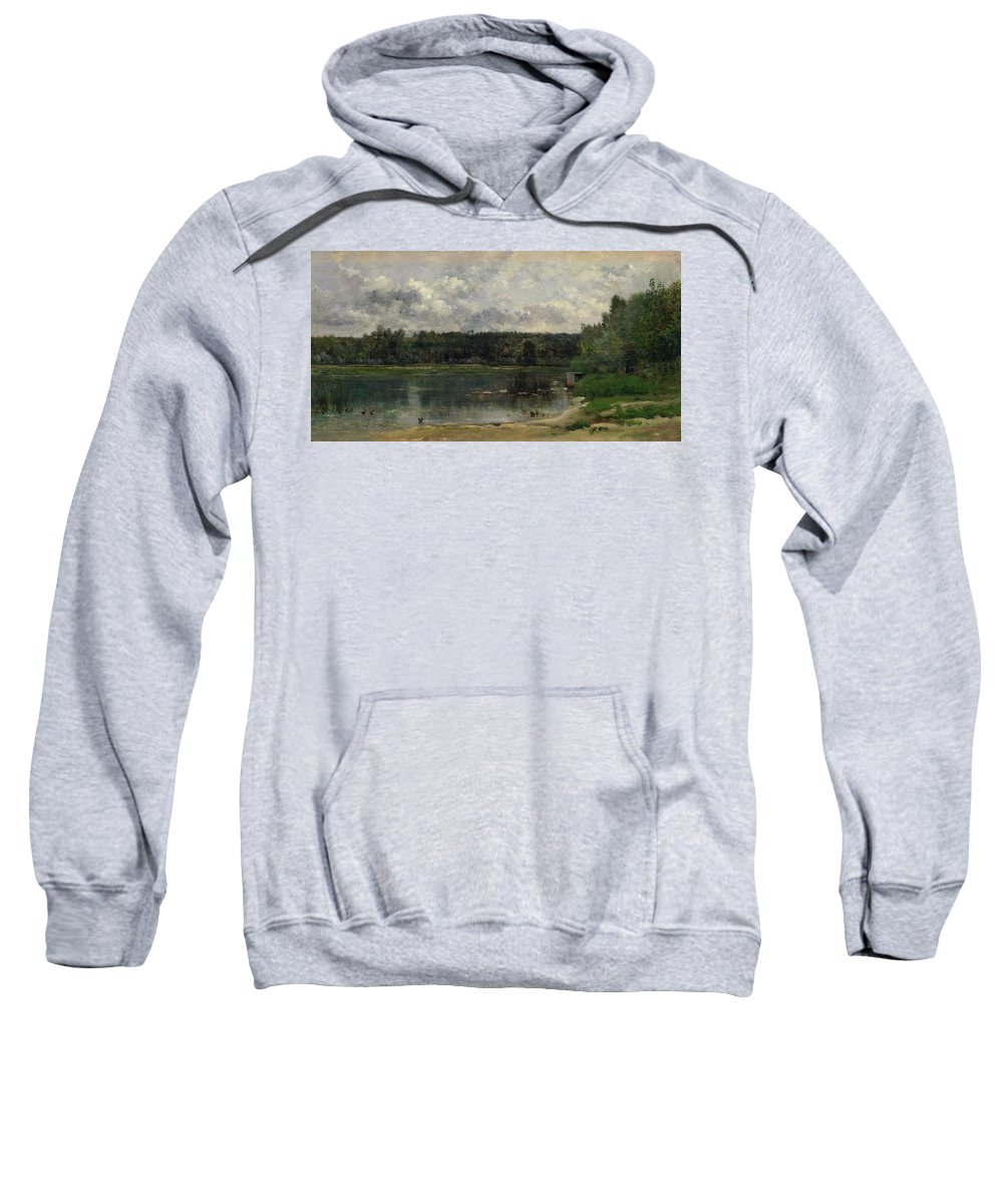 Animal Sweatshirt featuring the painting River Scene With Ducks by Charles-Francois Daubigny
