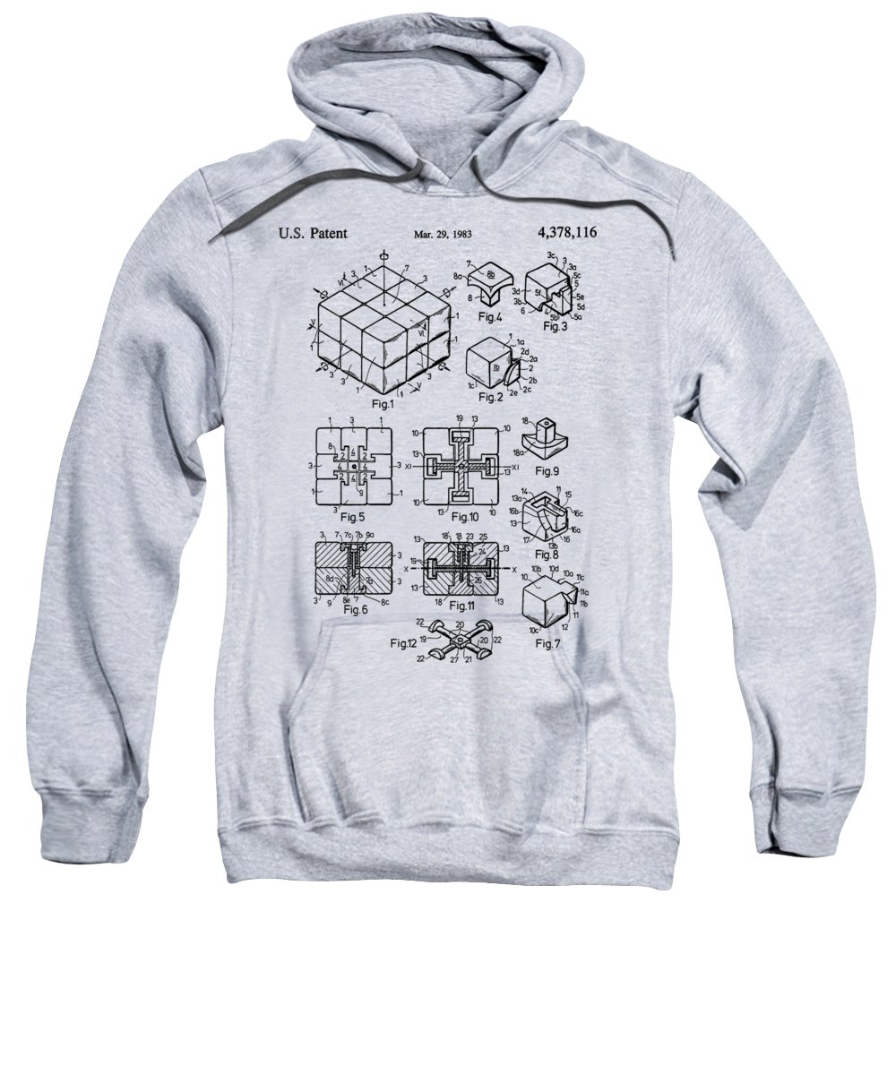 Rubik's Cube Sweatshirt featuring the photograph rubik's cube Patent 1983 by Chris Smith