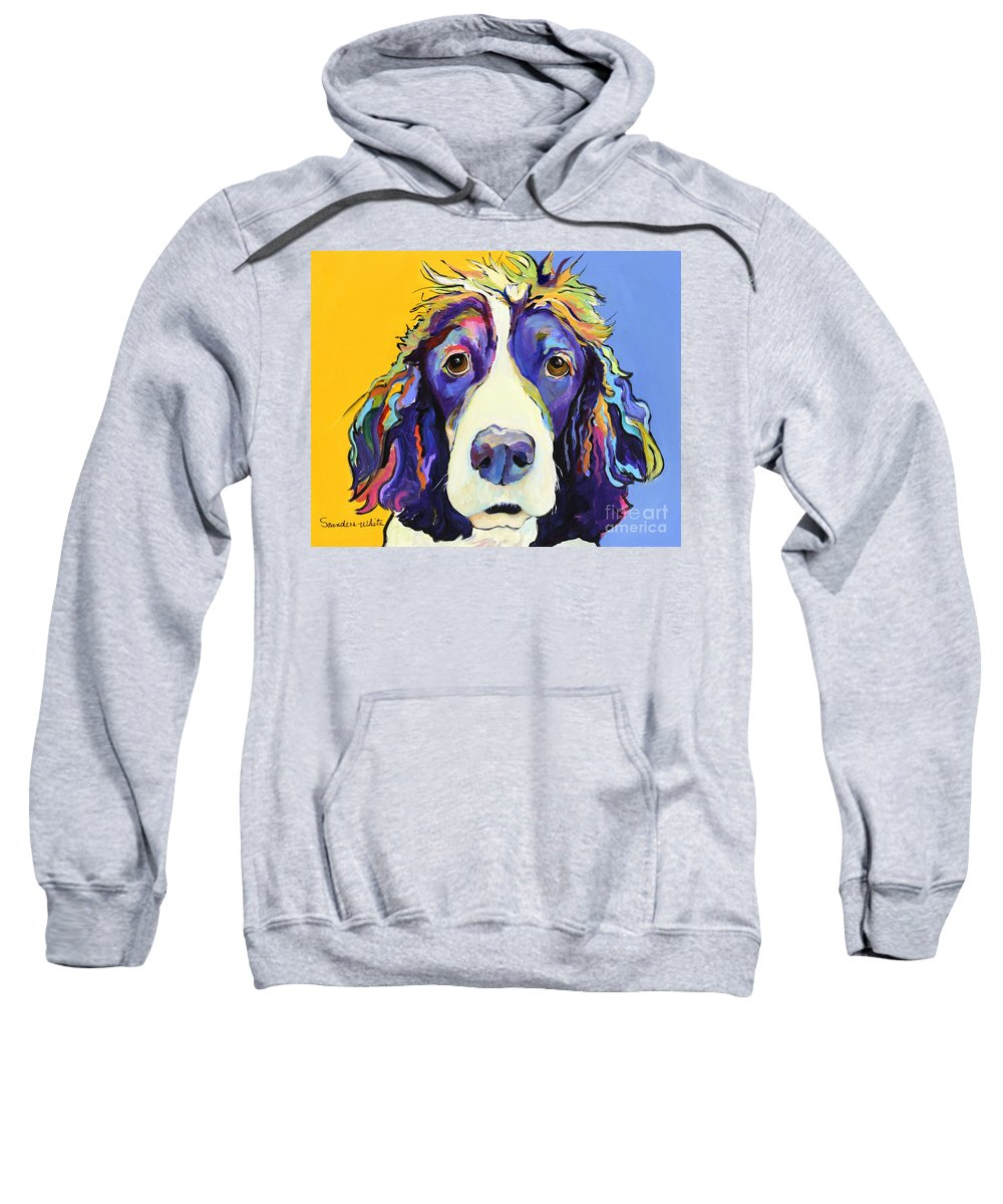 Blue Sweatshirt featuring the painting Sadie by Pat Saunders-White