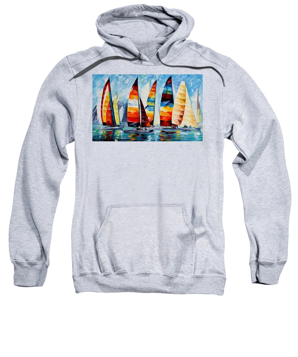 Afremov Sweatshirt featuring the painting Sail Regatta by Leonid Afremov