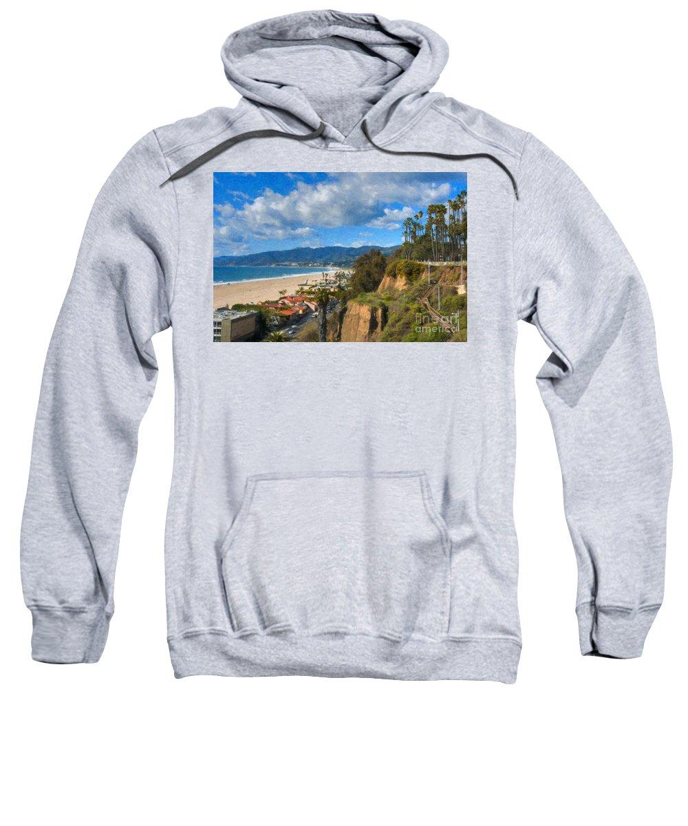 Santa Monica Sweatshirt featuring the photograph Santa Monica Ca Steps Palisades Park Bluffs by David Zanzinger