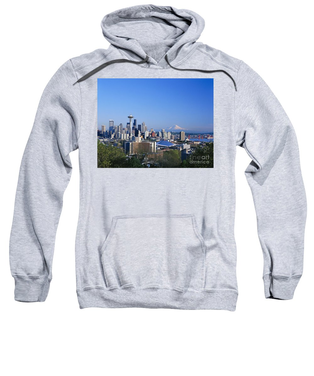 Across Sweatshirt featuring the photograph Seattle Skyline by Greg Vaughn - Printscapes