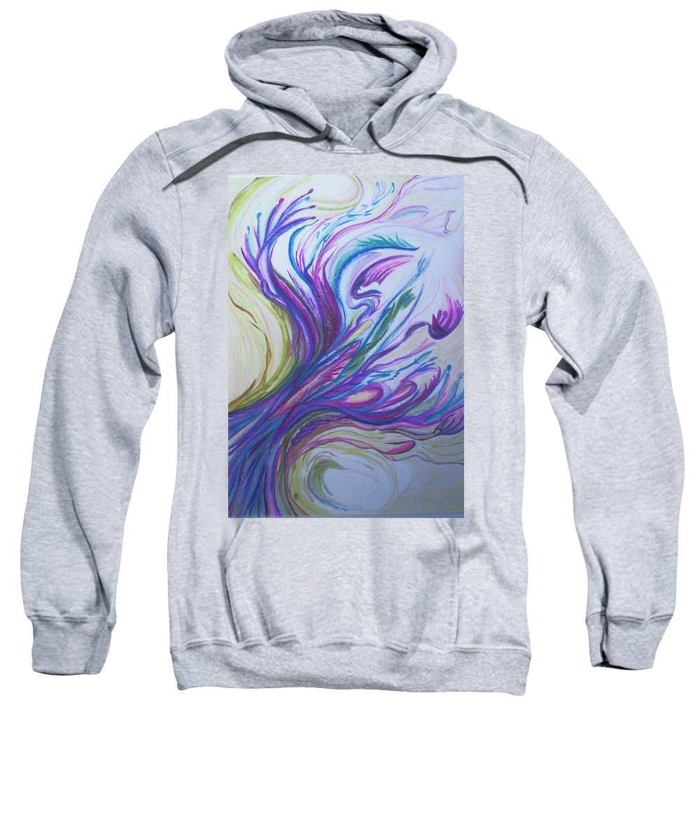 Abstract Sweatshirt featuring the painting Seaweedy by Suzanne Udell Levinger