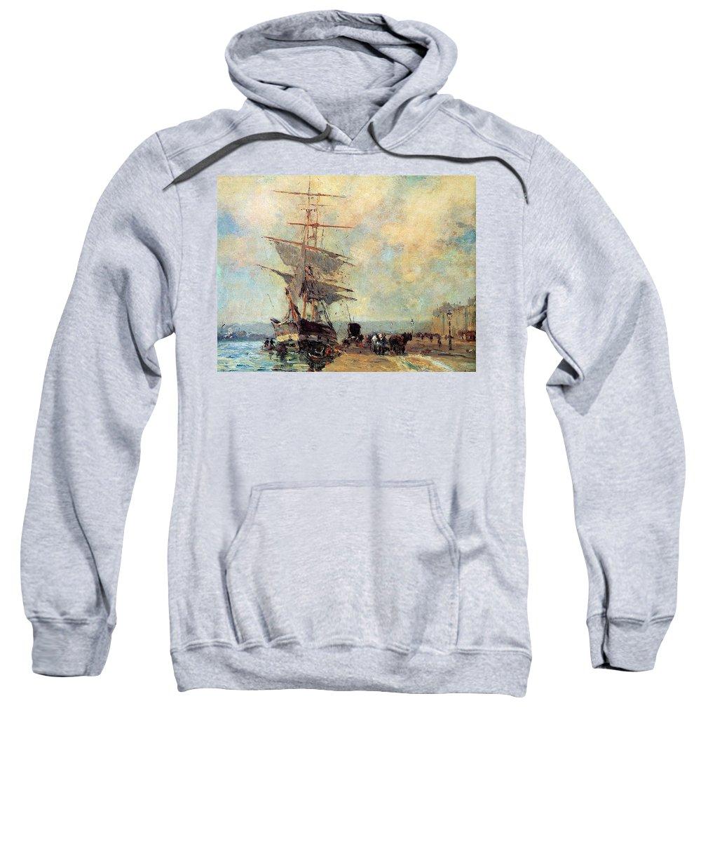 Grunge Sweatshirt featuring the digital art Ship In Harbour Rouen Albert-charles Lebourg by Eloisa Mannion