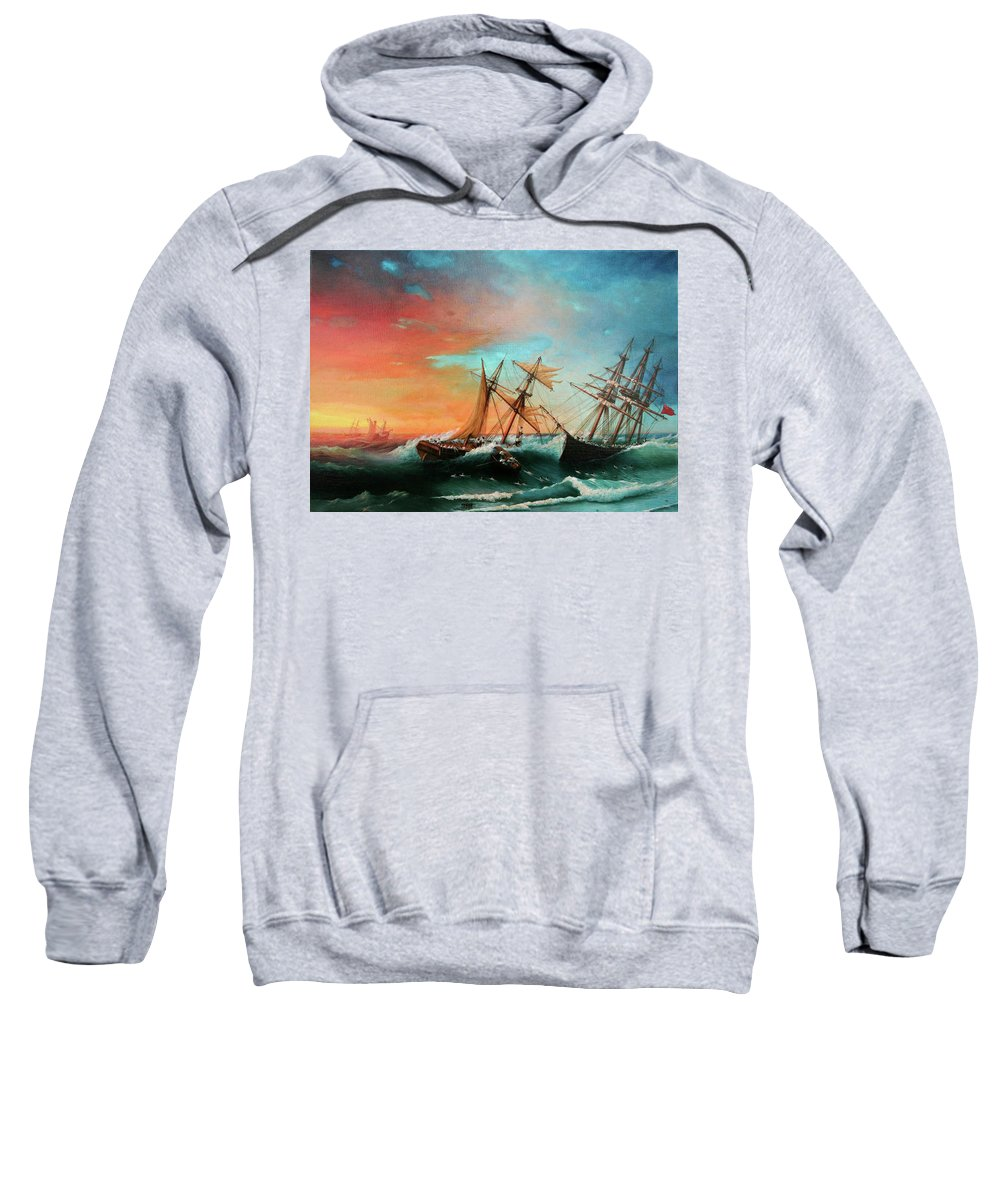 Seascape Sweatshirt featuring the painting Ships In A Storm At Sunset by Zohrab Kemkemian
