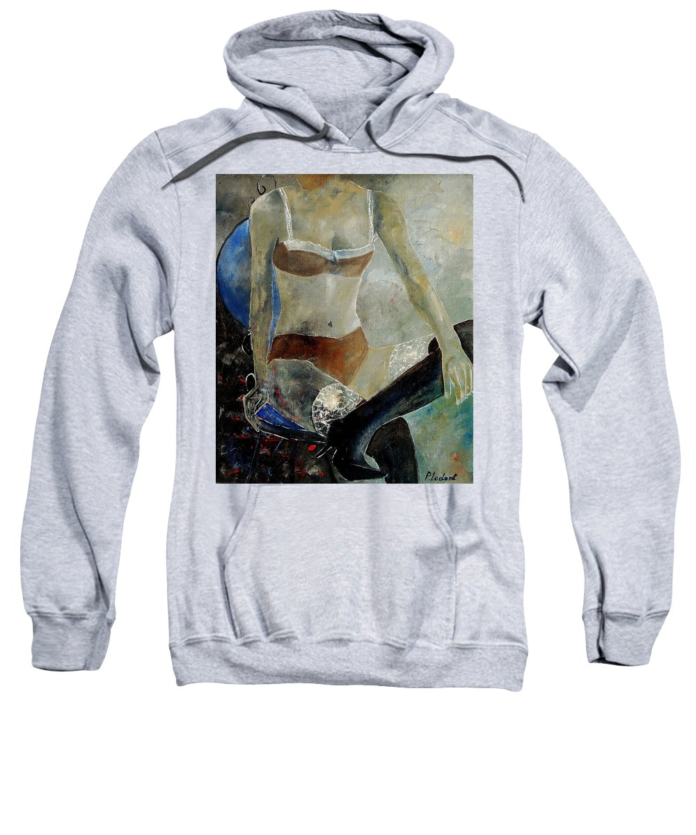 Nude Sweatshirt featuring the painting Sitting Girl by Pol Ledent