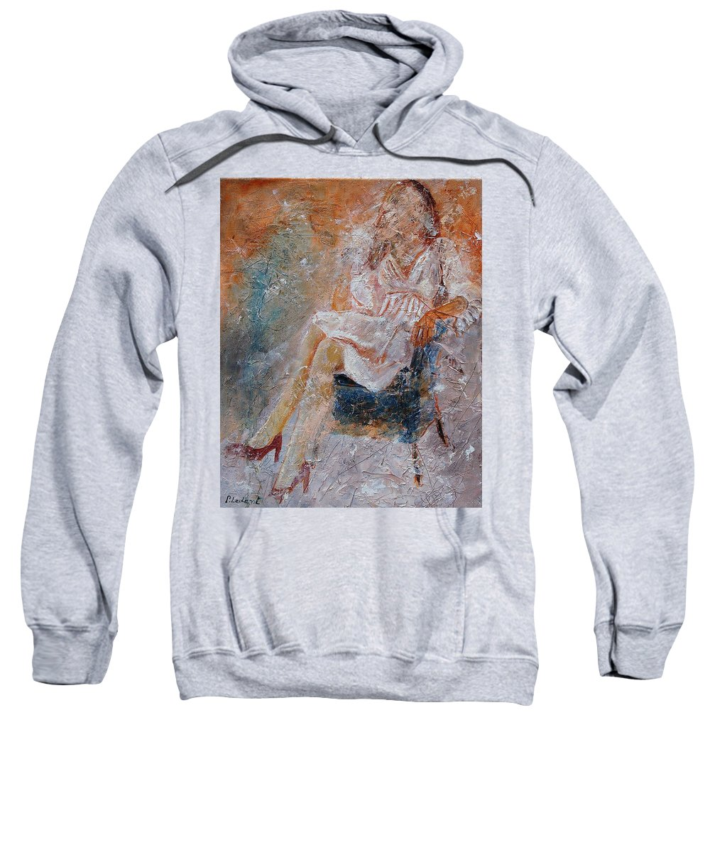 Girl Sweatshirt featuring the painting Sitting Young Girl by Pol Ledent