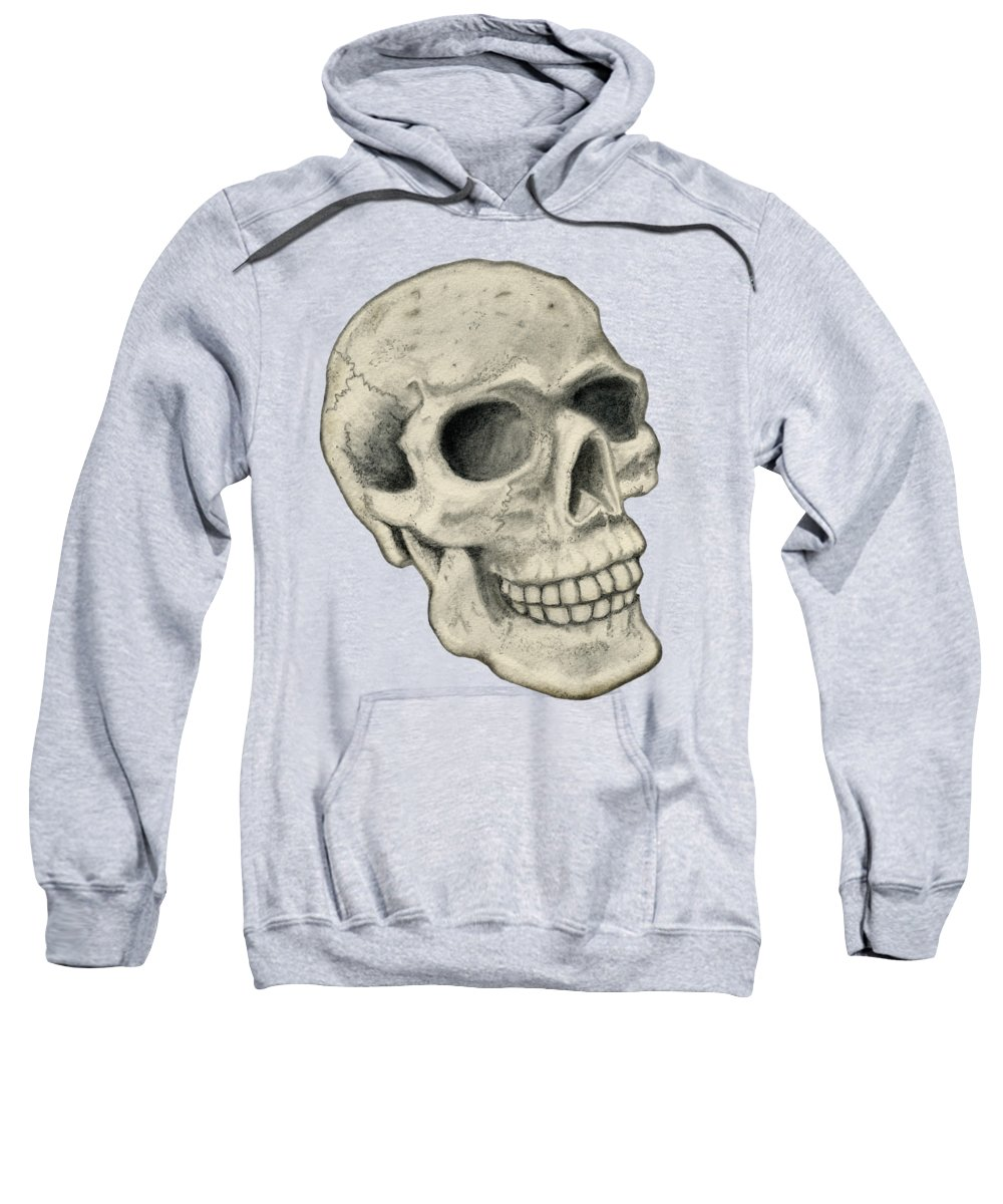 Skull Sweatshirt featuring the drawing Skull B by Larry Scarborough