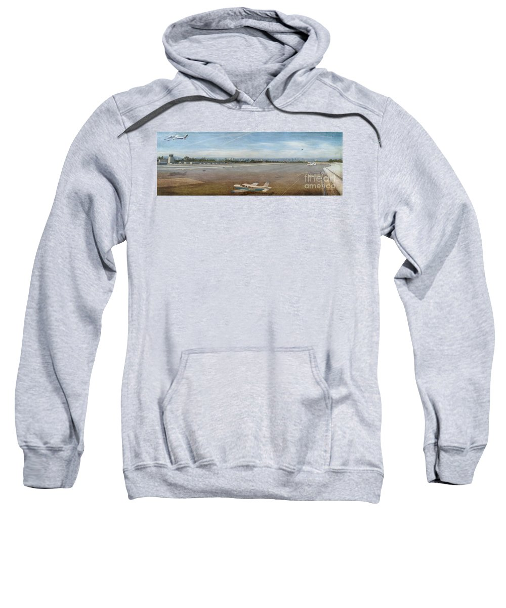 Small City Airport Planes Taking Off Fine Art Photograph Digital Watercolor Texture Overlay Sweatshirt featuring the photograph Small City Airport Plane Taking Off by David Zanzinger