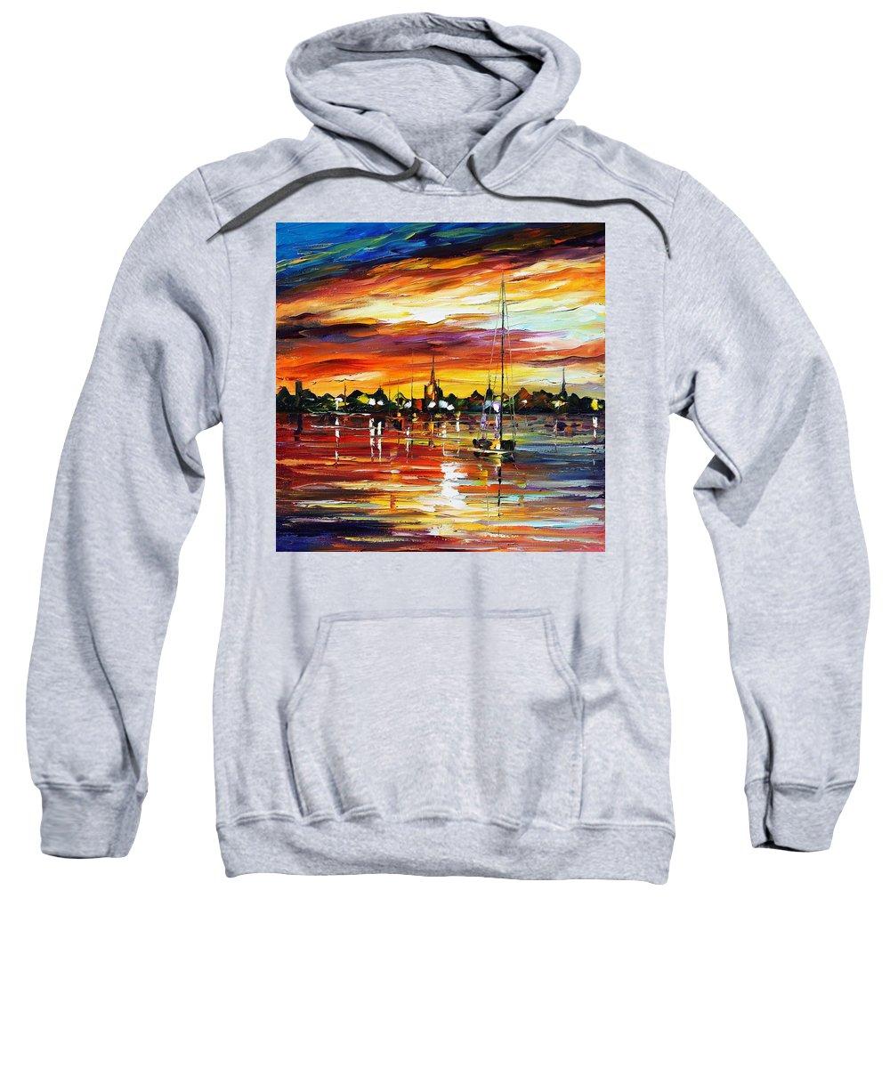 Afremov Sweatshirt featuring the painting Spain by Leonid Afremov