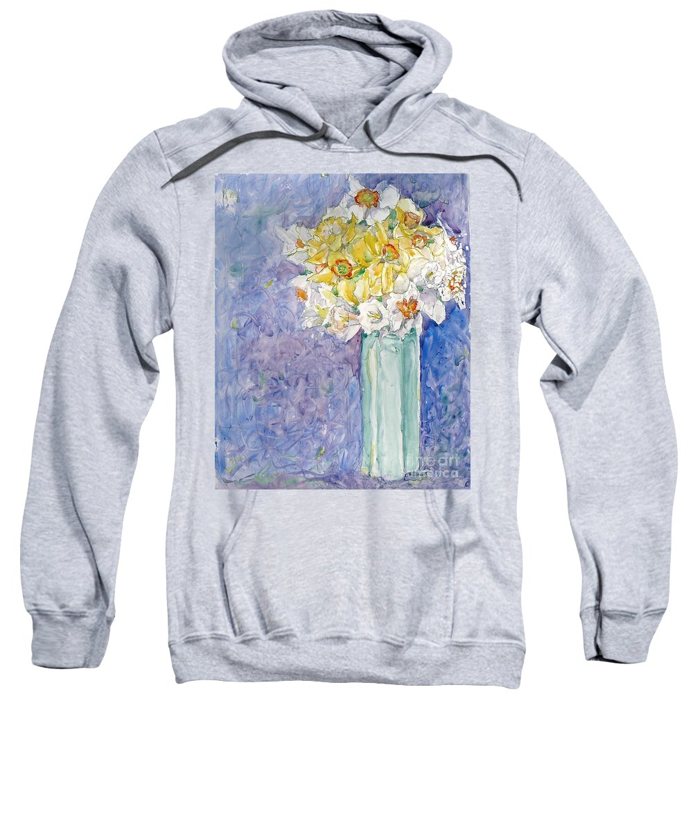 Watercolor Sweatshirt featuring the painting Spring Blossoms by Jan Bennicoff