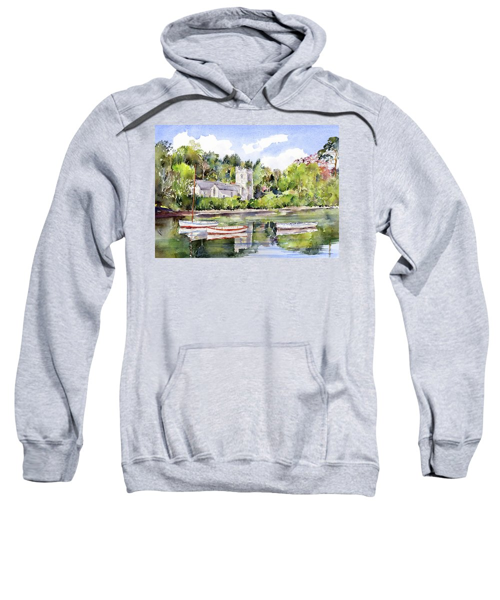 Church Sweatshirt featuring the painting St Just In Roseland Church by Margaret Merry