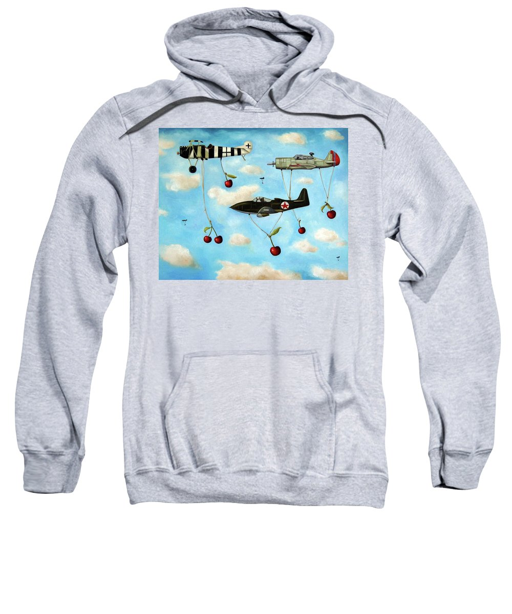 Plane Sweatshirt featuring the painting The Amazing Race 5 by Leah Saulnier The Painting Maniac