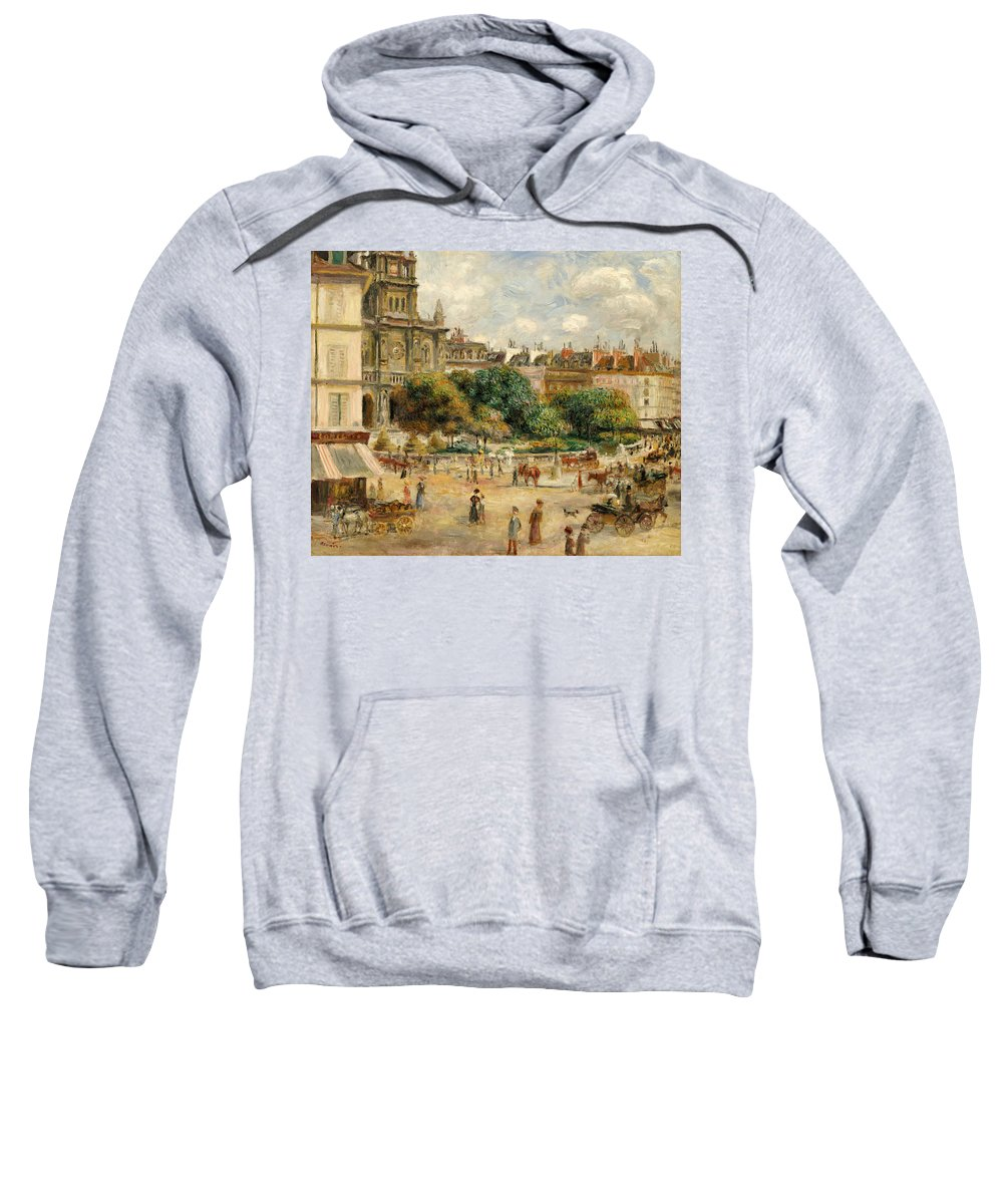 Impressionist; Impressionism; Landscape; River; Town; Tree; People Sweatshirt featuring the painting Place De La Trinite, 1893 by Pierre Auguste Renoir