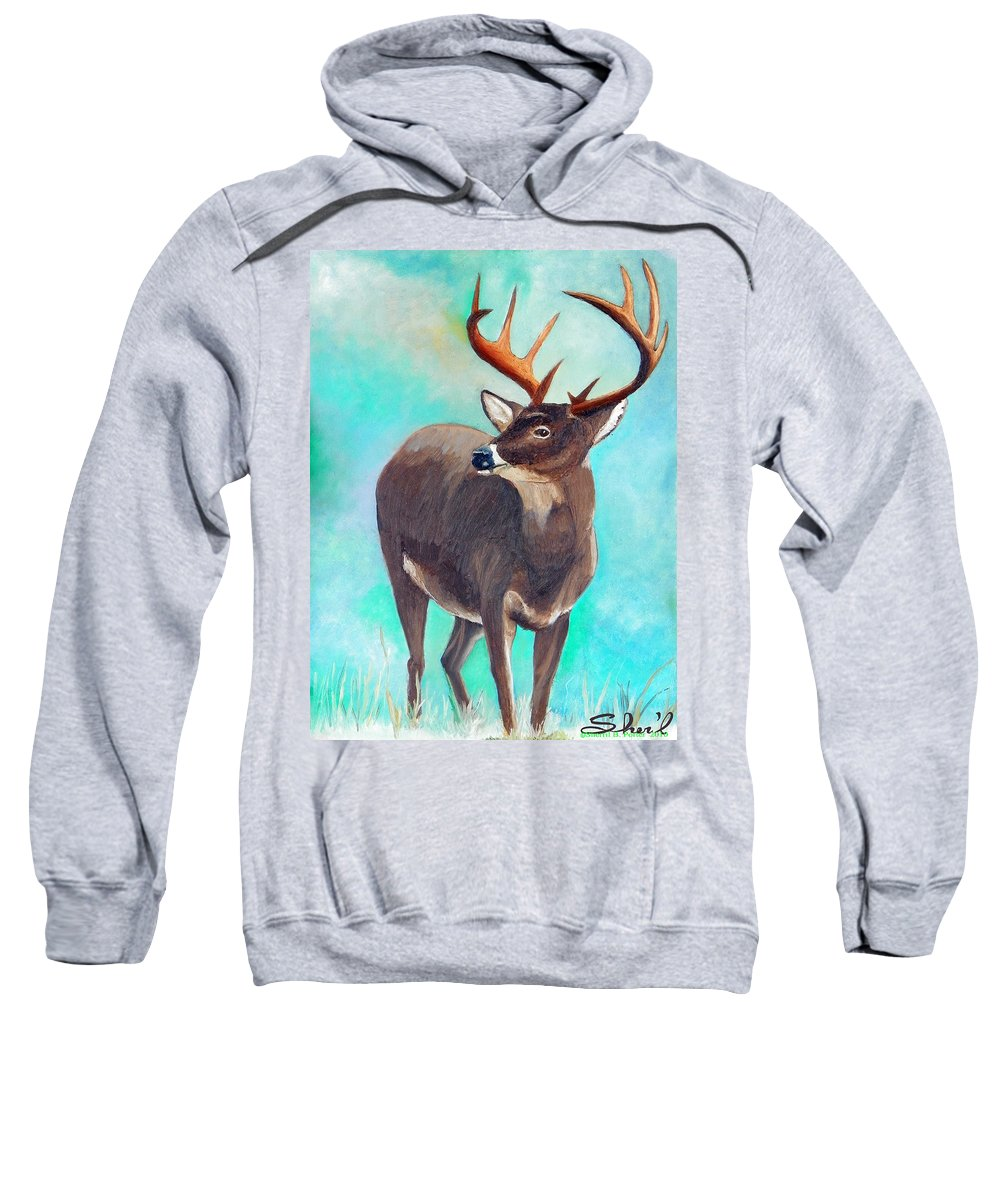 Sweatshirt featuring the painting the Buck Stops Here by Sherril Porter