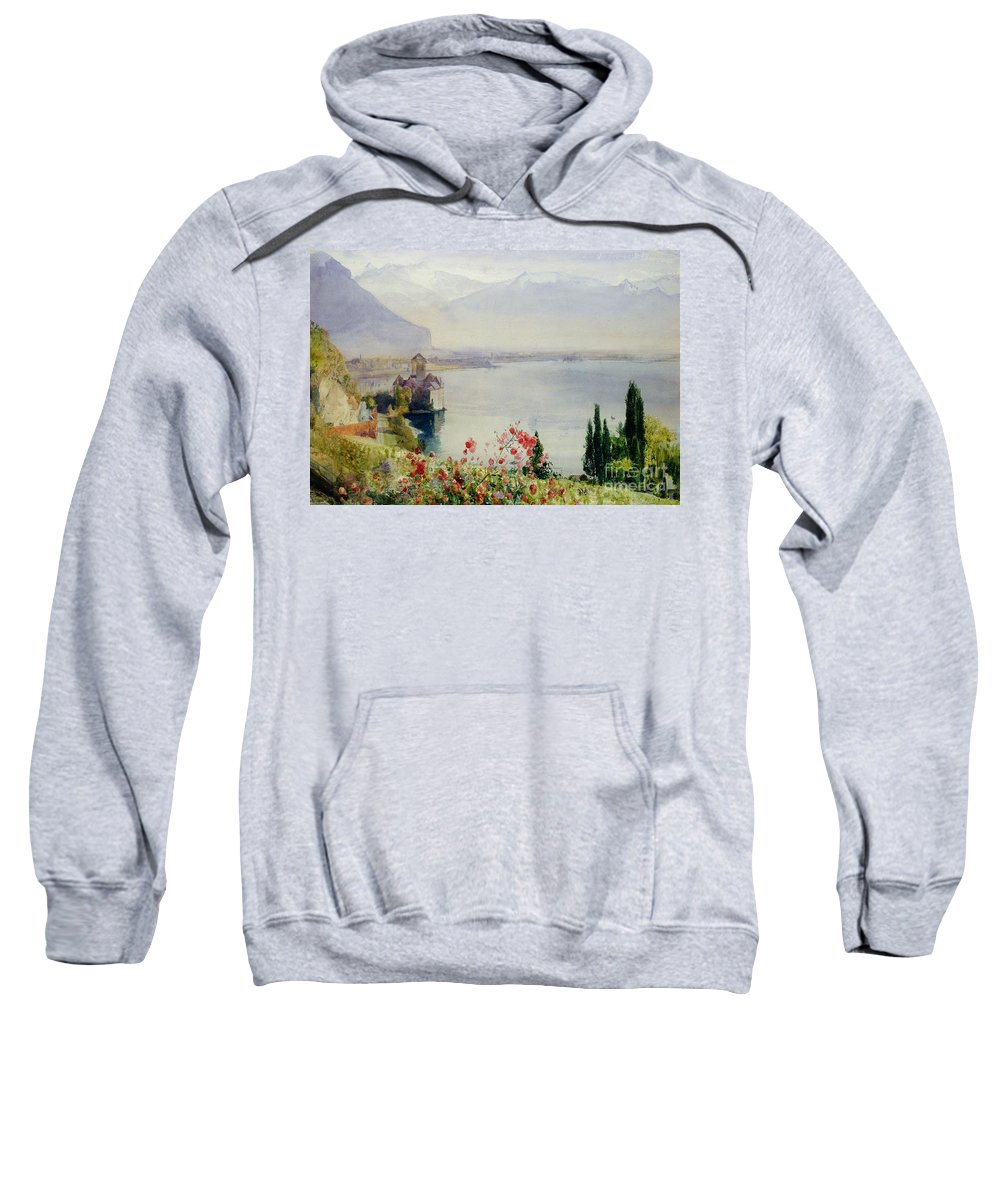 The Castle At Chillon Sweatshirt featuring the painting The Castle At Chillon by John William Inchbold