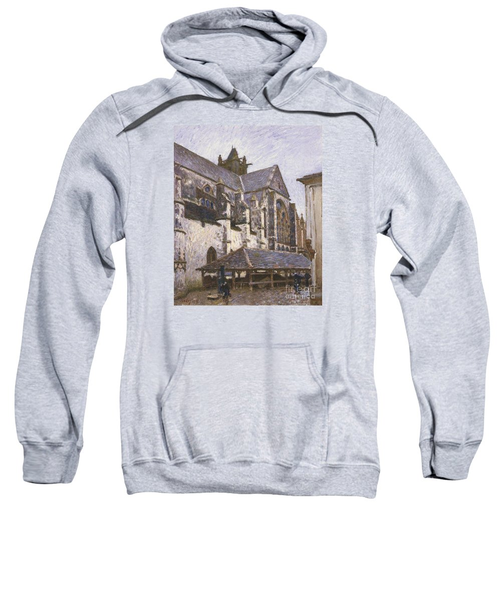 The Church At Moret Sweatshirt featuring the painting The Church At Moret by MotionAge Designs