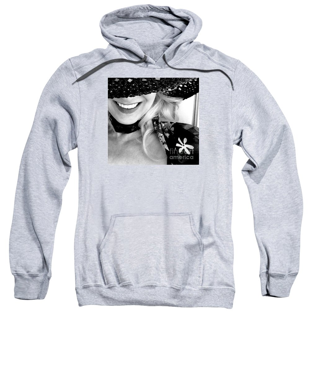 Hat Sweatshirt featuring the photograph The Hat Bw by Mioara Andritoiu