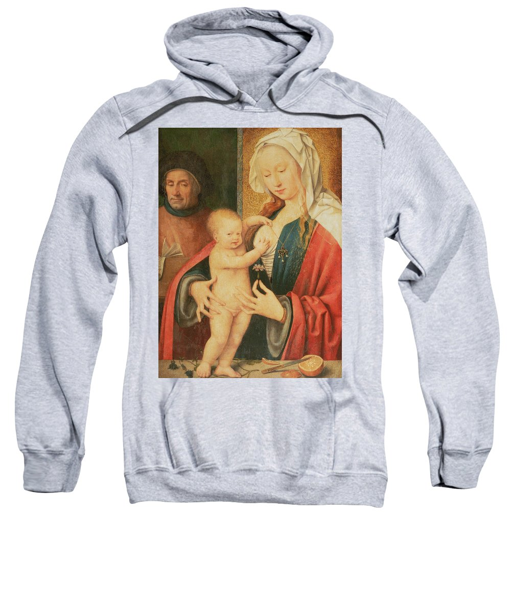 Virgin And Child Sweatshirt featuring the painting The Holy Family by Joos van Cleve