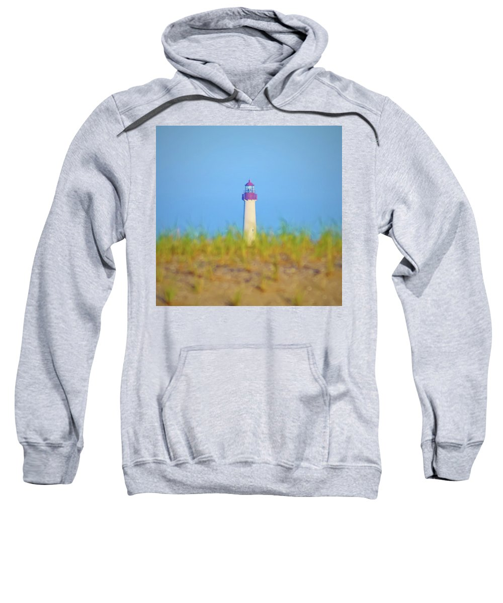 Lighthouse Sweatshirt featuring the photograph The Lighthouse At Cape May by Bill Cannon