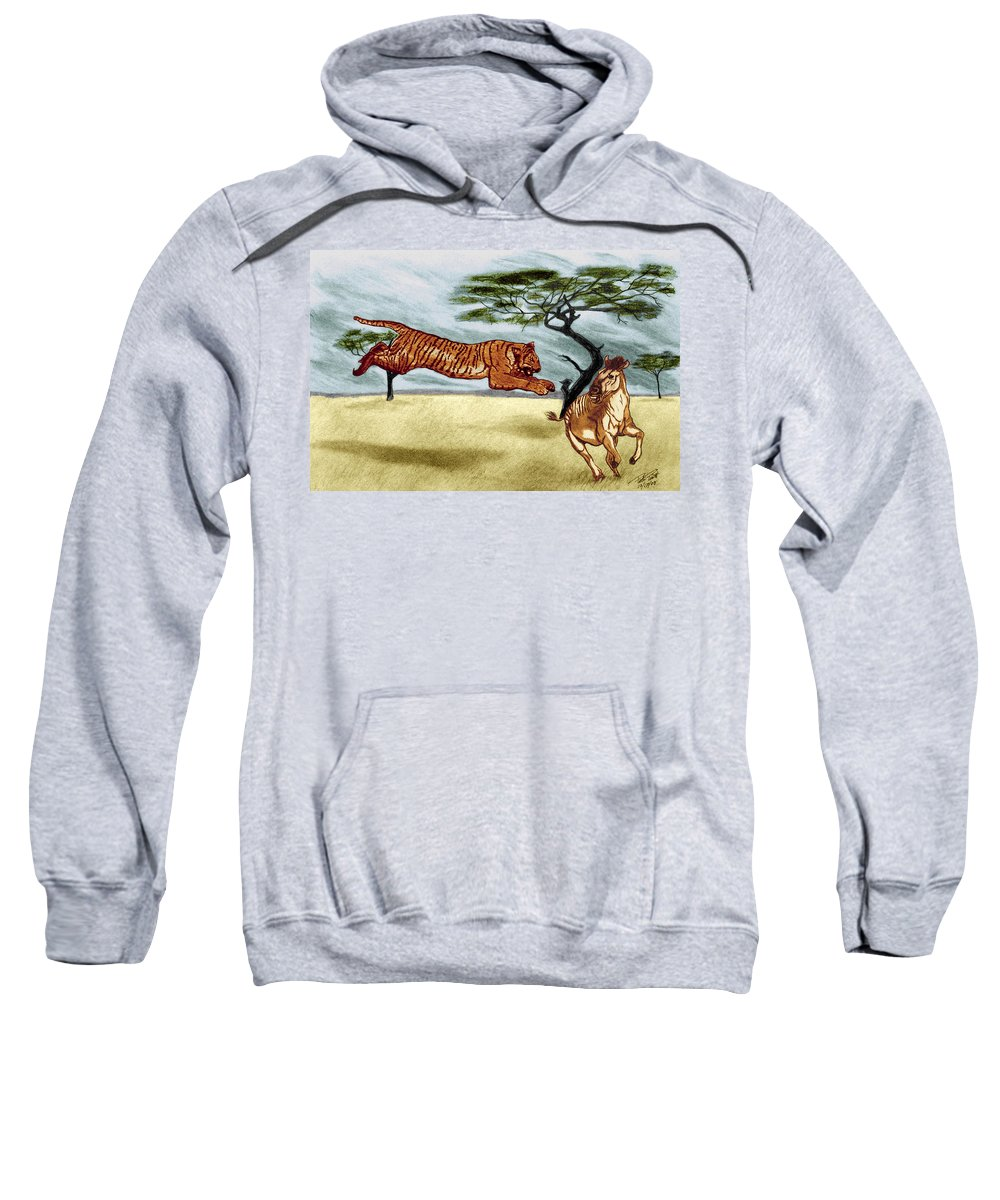 The Lunge Sweatshirt featuring the drawing The Lunge by Peter Piatt