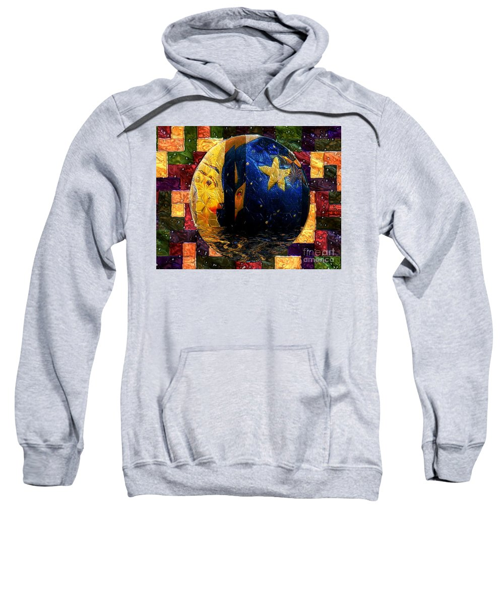Moon Sweatshirt featuring the painting The Moon Has A Bath by RC DeWinter