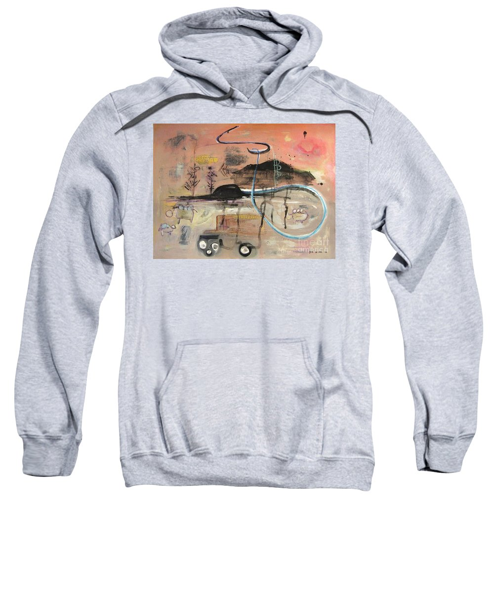 Acrylic Paper Canvas Abstract Contemporary Landscape Dusk Twilight Countryside Sweatshirt featuring the painting The Tempo Of A Day by Seon-Jeong Kim