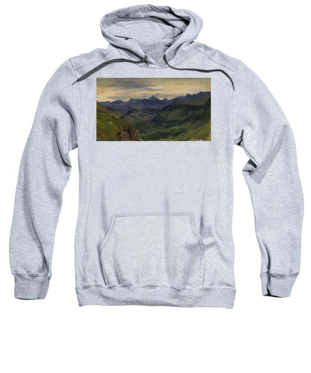 Barbizon School Sweatshirt featuring the painting The Valley Of Saint-vincent by Theodore Rousseau