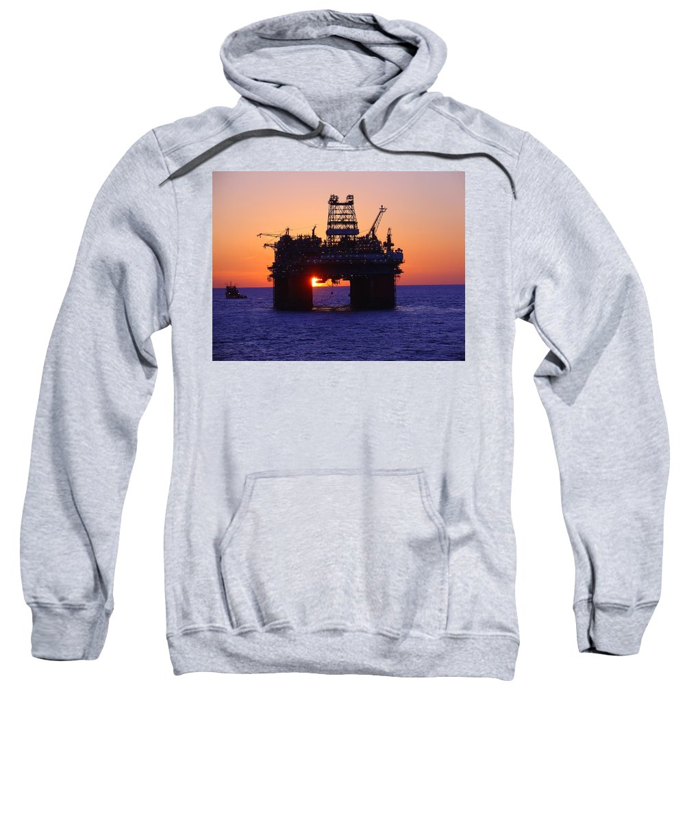 Thunder Horse Sweatshirt featuring the photograph Thunder Horse At Sunset by Charles and Melisa Morrison