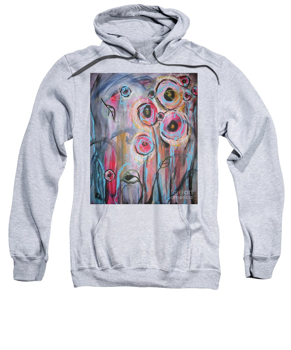Aabstract Paintings Sweatshirt featuring the painting Too Many Temptations by Seon-Jeong Kim