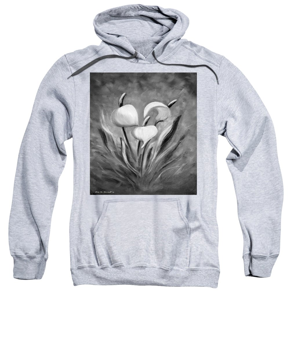 Tropical Sweatshirt featuring the painting Tropical Flowers In Black And White by Gina De Gorna