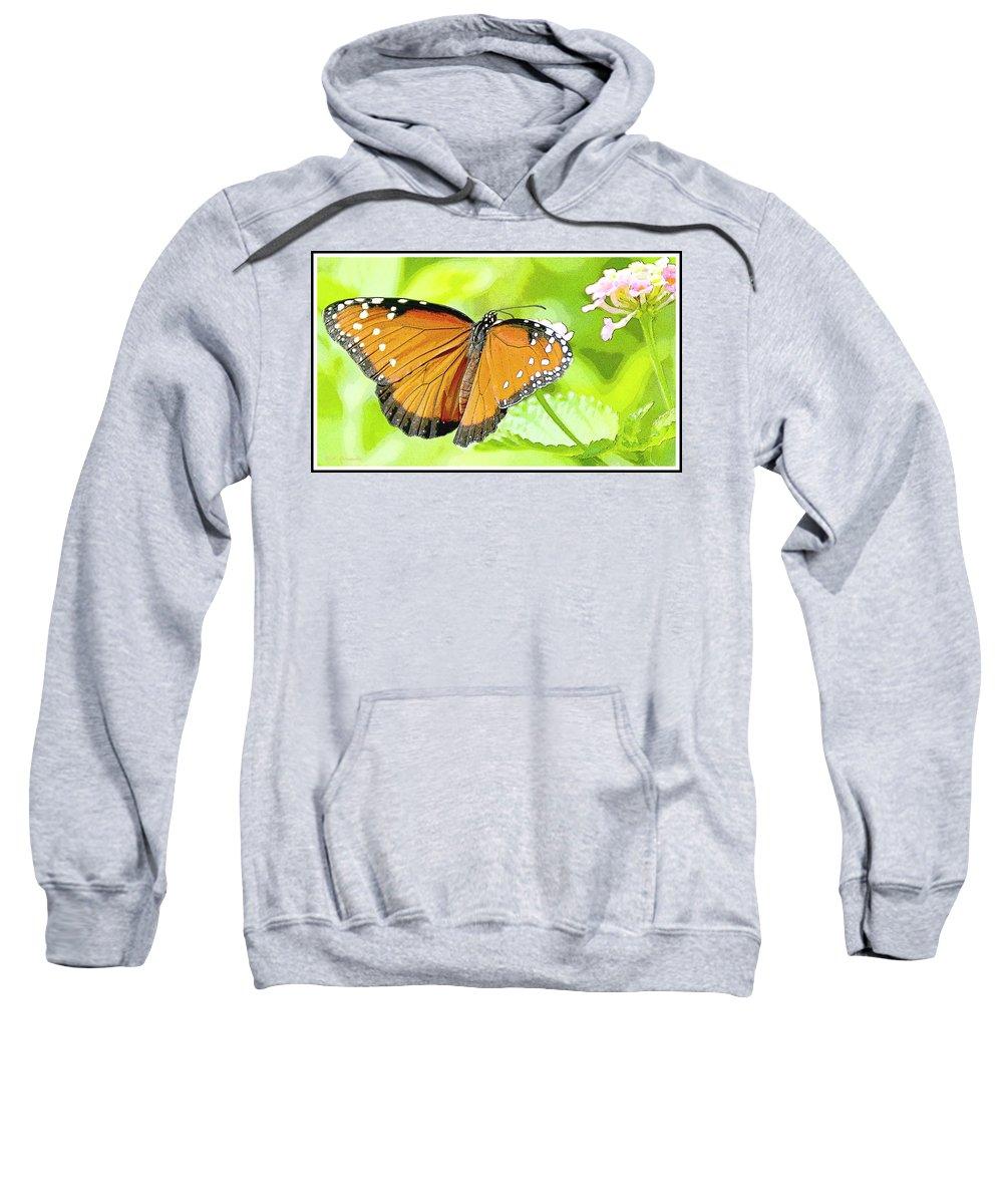 Danaus Eresimus Sweatshirt featuring the photograph Tropical Queen Butterfly Framing Image by A Gurmankin