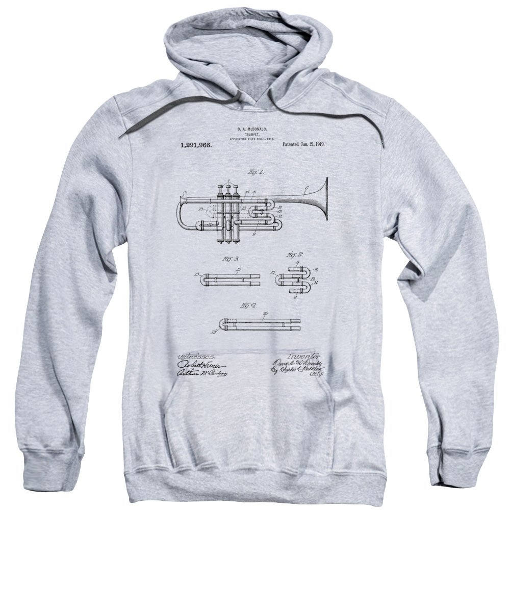 Trumpet Sweatshirt featuring the photograph Trumpet Patent From 1919 by Chris Smith