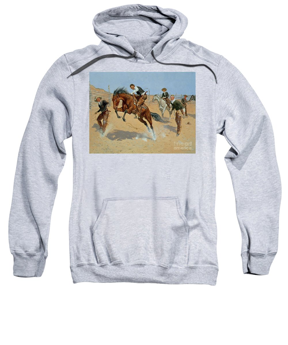 Turn Him Loose Sweatshirt featuring the painting Turn Him Loose by Frederic Remington