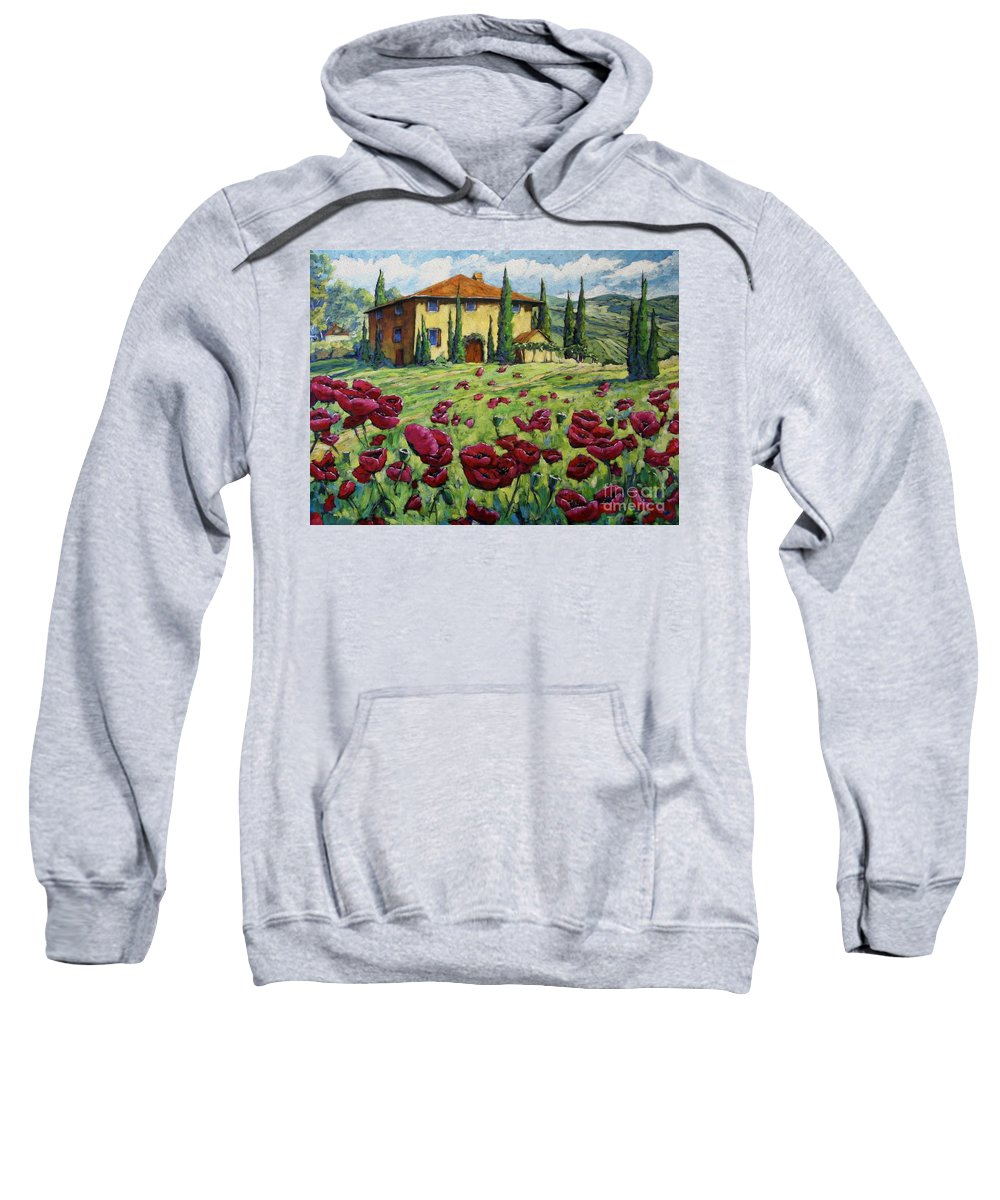 Art Sweatshirt featuring the painting Tuscan Poppies by Richard T Pranke