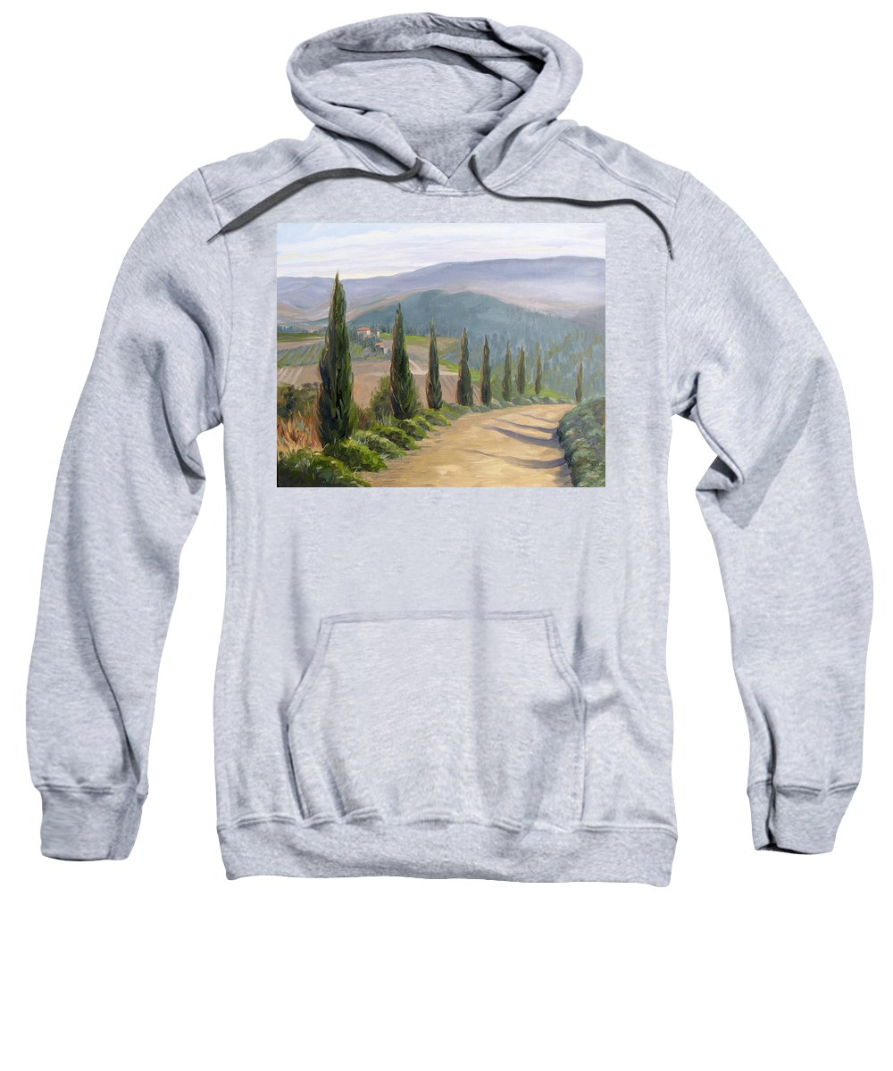 Landscape Sweatshirt featuring the painting Tuscany Road by Jay Johnson