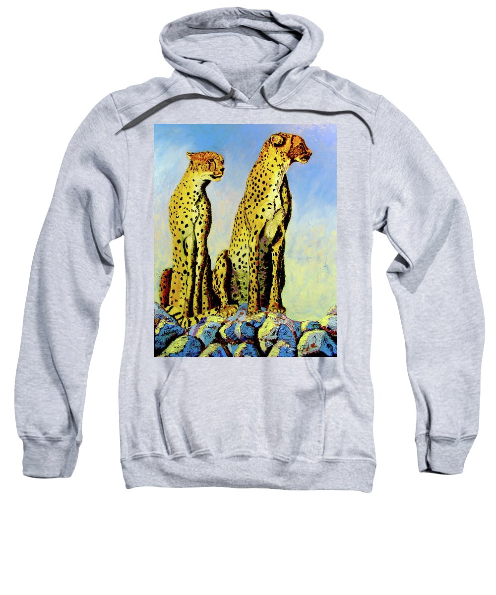 Cheetahs Sweatshirt featuring the painting Two Cheetahs by Stan Hamilton
