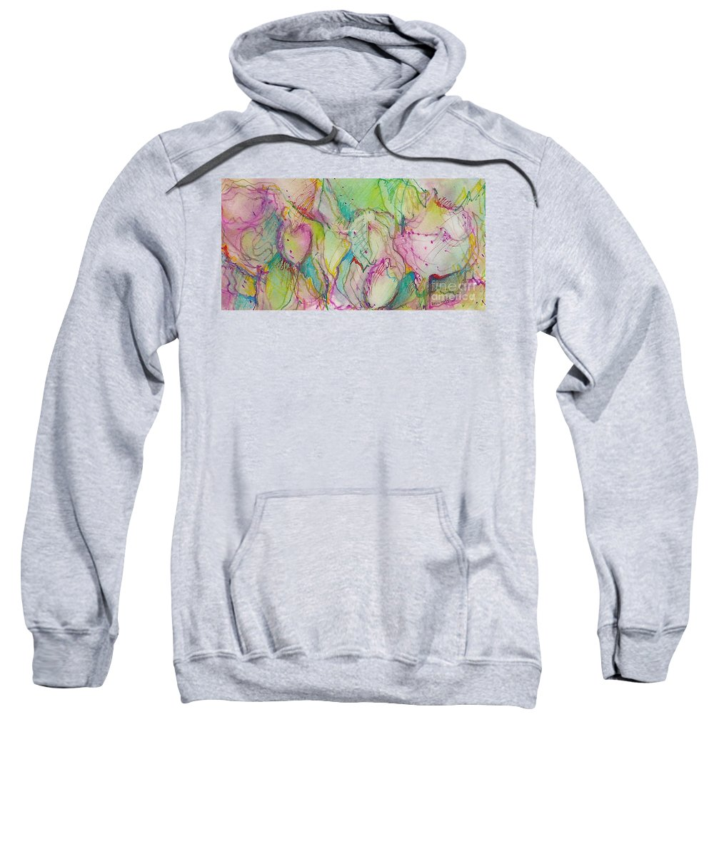 Abstract Sweatshirt featuring the painting Two Lips by Jan Bennicoff