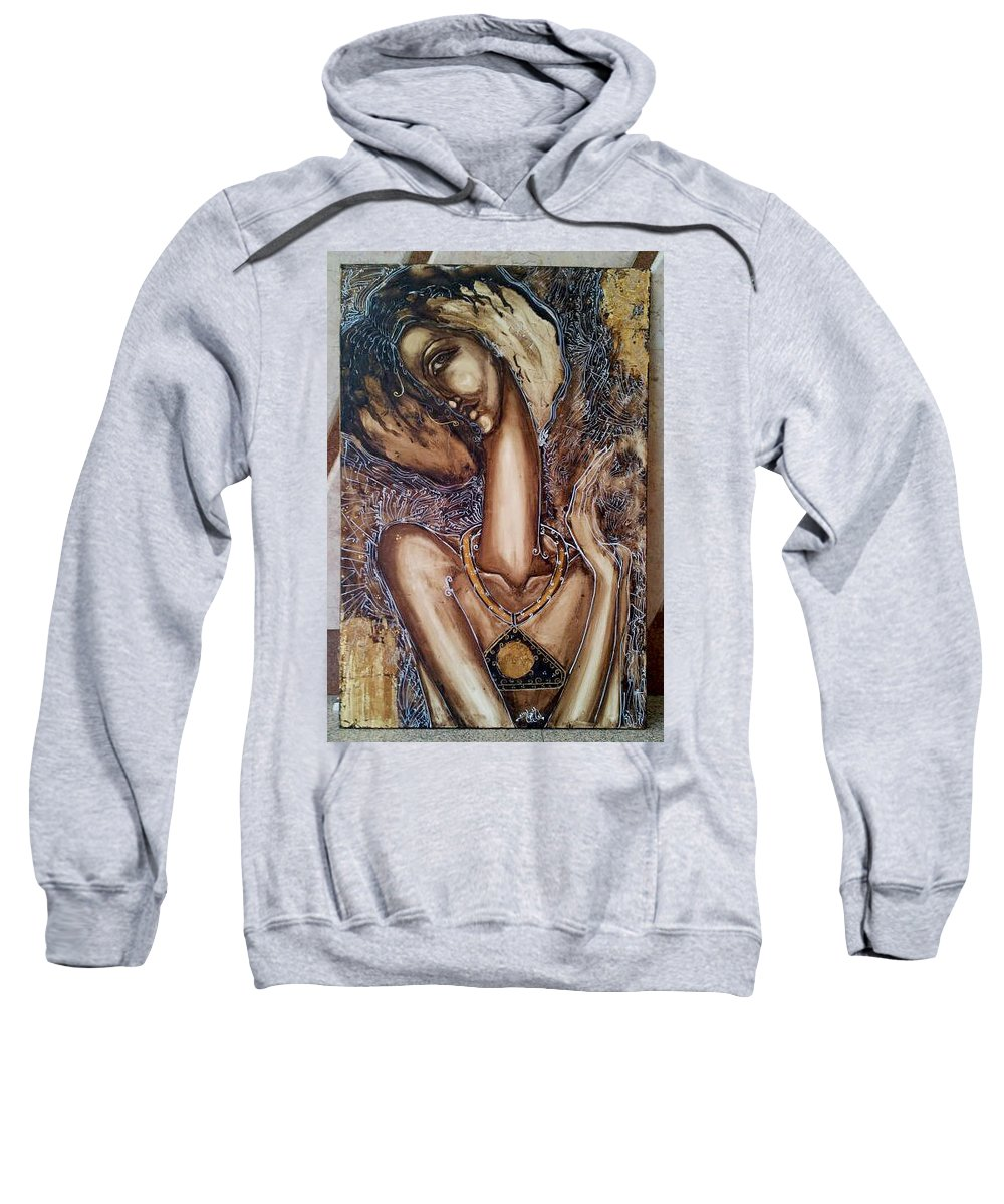 Sweatshirt featuring the painting Unnamed by Eman Kutb