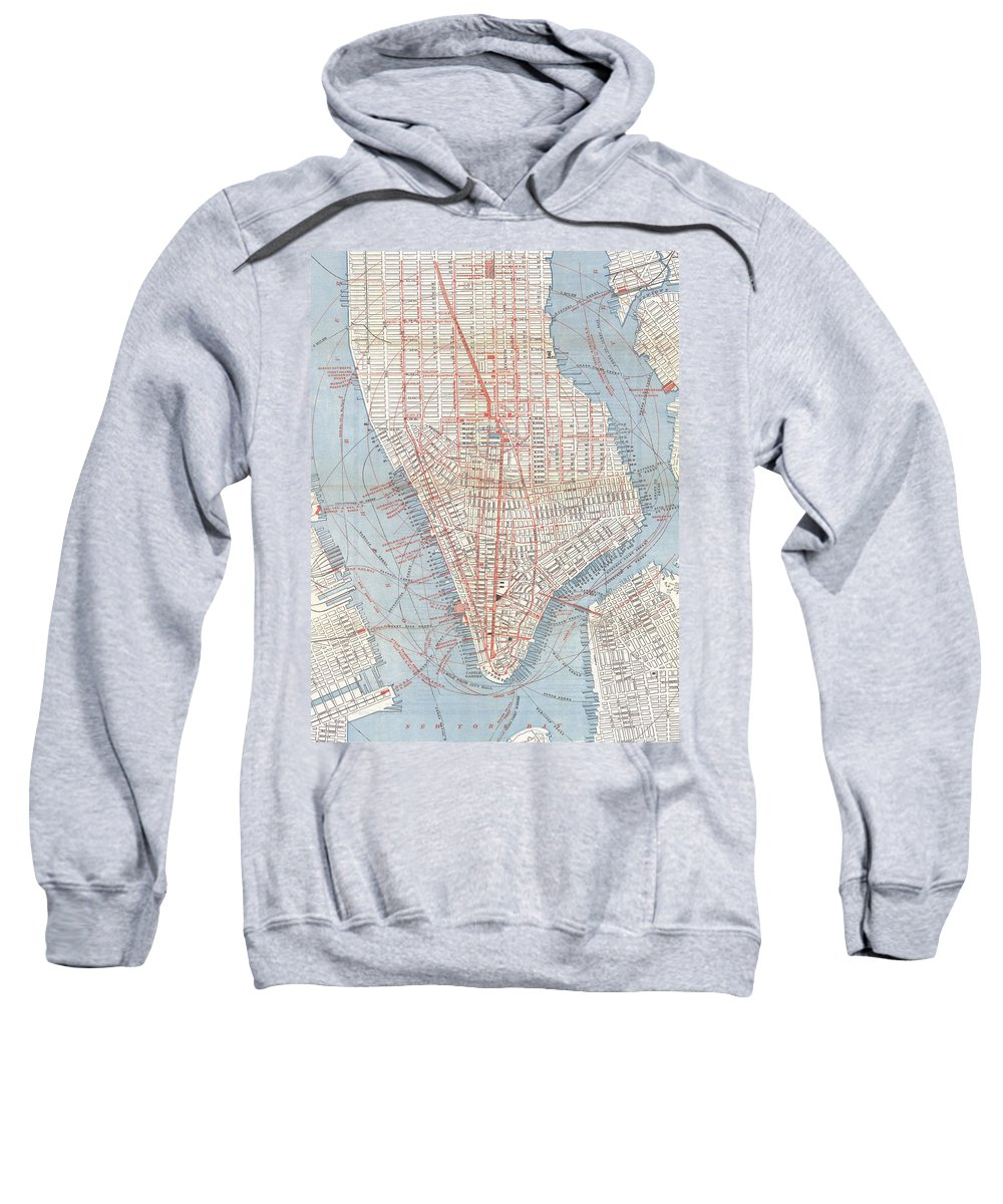 New York City Sweatshirt featuring the drawing Vintage Map Of Lower Manhattan by CartographyAssociates