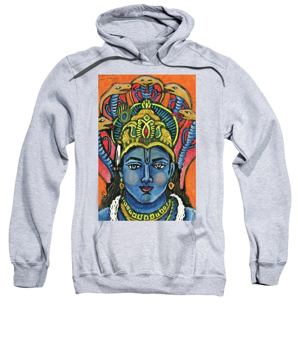 Jennifer Mazzucco Sweatshirt featuring the mixed media Vishnu by Jennifer Mazzucco