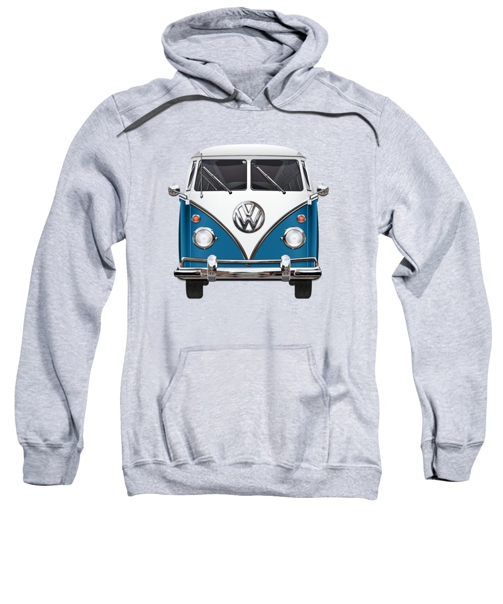 'volkswagen Type 2' Collection By Serge Averbukh Sweatshirt featuring the photograph Volkswagen Type 2 - Blue And White Volkswagen T 1 Samba Bus Over Orange Canvas by Serge Averbukh