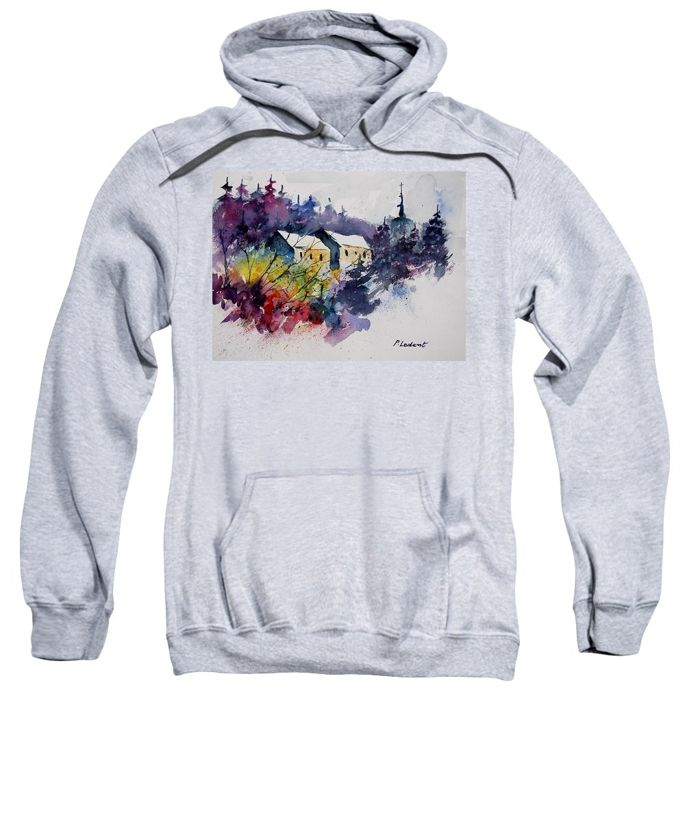 Winter Sweatshirt featuring the painting Watercolor 231207 by Pol Ledent