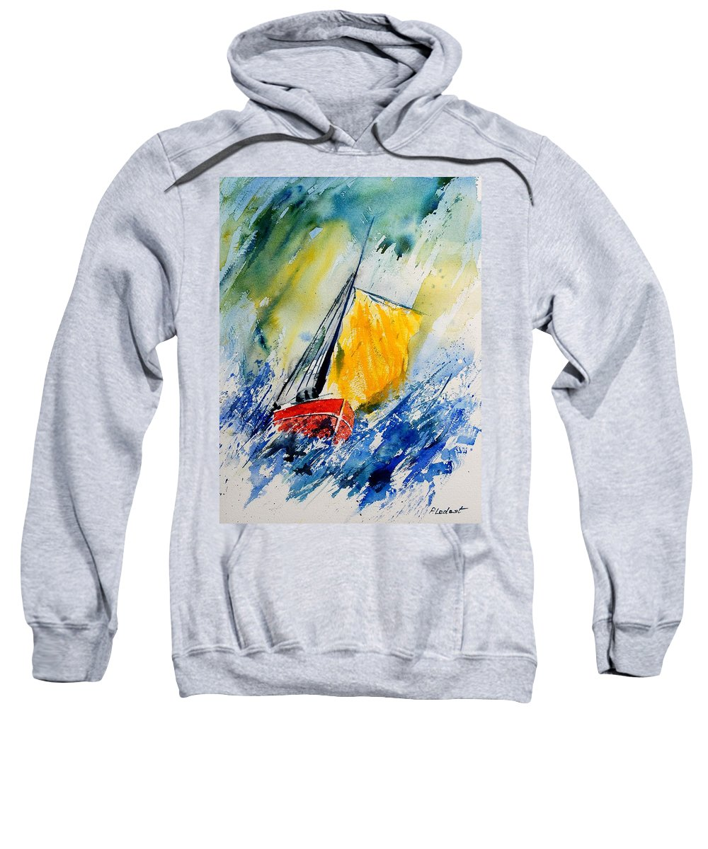 Sea Sweatshirt featuring the painting Watercolor 280308 by Pol Ledent